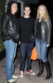 Shannon Tweed rocked a leather jacket while out with her husband at Beso restaurant.