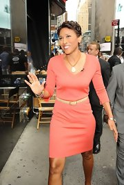 Robin Roberts' coral sweater dress had a subtle sporty feel.