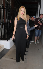 Heather Graham rocked a wide-leg black jumpsuit while out in London.