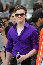 Chris sported dark sunglasses on the set of 'Glee.'