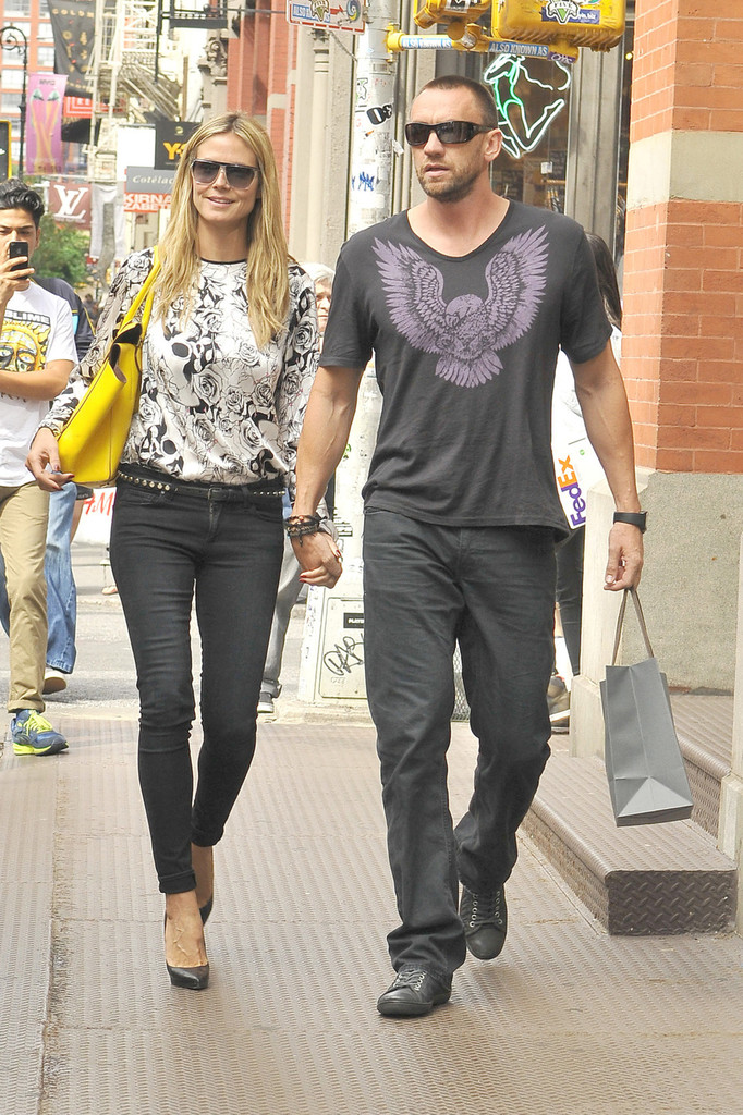 Heidi Klum seen shooping at John Vaivatos and Louis Vuitton in New York City.