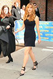 Jennifer Lawrence appeared on the 'Late Show With David Letterman' wearing a pair of black peep toe sandals.