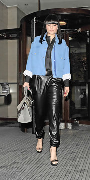 Jessie J paired this cool pale blue fitted wool jacket with black leather pants for an unexpected but funky look.