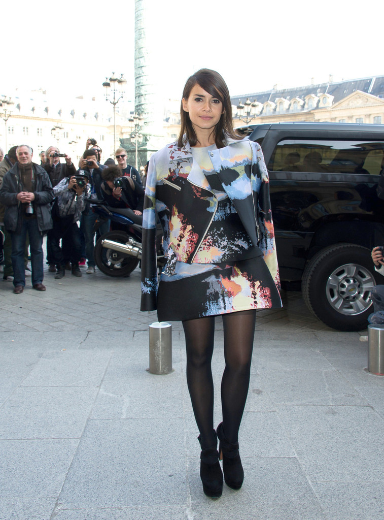 Miroslava Duma arriving to the Giambattista Valli Fall-Winter 2013/2014 Ready-to-Wear collection show, at Place Vendome in Paris.