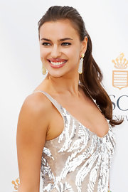 Irina Shayk attended the Cannes Film Festival with her hair styled in a casual ponytail.