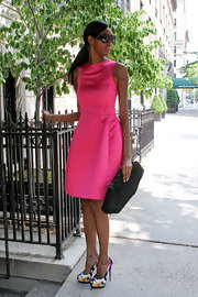 Jessica White chose a hot pink sleeveless A-line for her look while out in NYC.