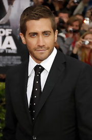 Jake dons a polka-dot tie to the 'Prince of Persia' movie premiere.