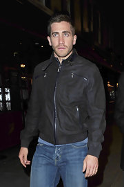 Jake looks effortlessly cool in this snazzy leather jacket.