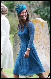Pippa Middleton stunned in a blue number and matching fascinator at the wedding of James Meade and Lady Laura Marsham.