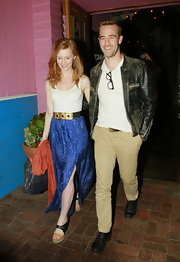 Kimberly Brook chose a patterned long skirt for her relaxed dinner look while out with husband, James Van Der Beek.