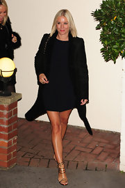 Denise van Outen matched her dress with a pair of gladiator sandals for the filming of 'The X Factor.'