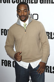 Anthony Mackie mixed styles effortlessly at the 'For Colored Girls' premiere. He kept it preppy casual with a classic button-up and tie combo layered under a comfy zip-up.