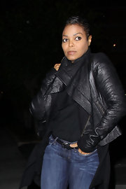 Janet looks stylish in a draped black leather jacket and jeans while out in Hollywood with her beau.