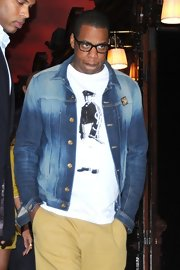 Jay-Z stayed comfortable and casual in his Yves Saint Laurent t-shirt while out and about in Paris.