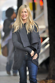 Jennifer shows off her street style in a gray ribbed sweater.