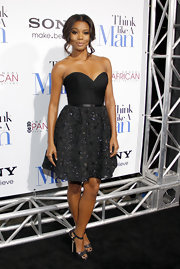 Gabrielle Union wore a black strapless fit-and-flare dress for the 'Think Like a Man' premiere.