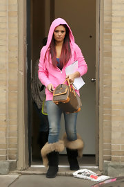 Jenni Farley was spotted filming her new show carrying a brown bowler bag with tan trim.