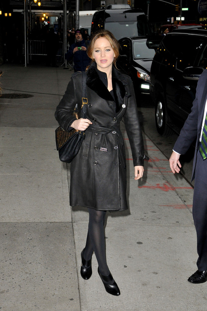 Jennifer Lawrence Leather Coat - Jennifer Lawrence Looks ...