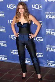 Jennifer Lawrence got fearless at the Santa Barbara Film Festival in this strapless taffeta jumpsuit with crisp creases.