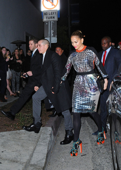 Jennifer Lopez and Casper Smart at the Topshop Party