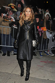 Jennifer Lopez wore head-to-toe leather for her appearance on the 'Daily Show' in NYC.