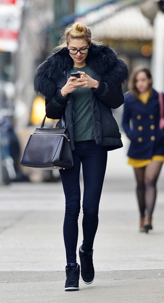 Jessica Hart Down Jacket - Jessica Hart Outerwear Looks - StyleBistro
