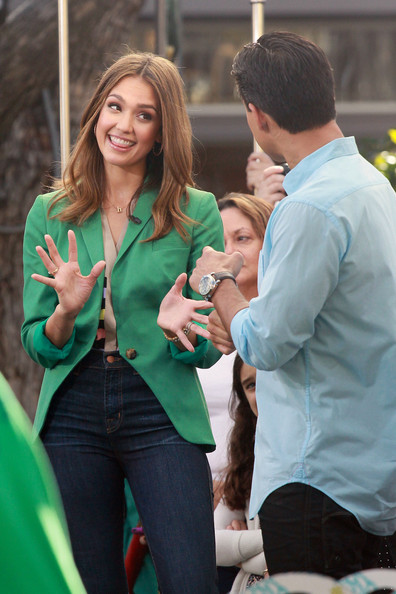 "Jessica Alba makes an appearance on ""Extra"" with Mario Lopez at the Grove Shopping Center in LA"