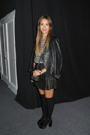 Jessica Alba channeled the '60s with a pair of chunky black platform pumps teamed with knee-high socks and a mini skirt during the Charlotte Ronson fashion show.