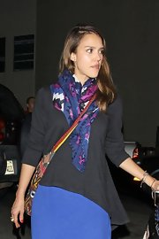 Jessica Alba spent an evening out wearing a navy multi Serengeti tie all scarf.