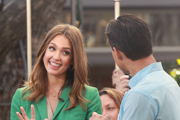 "Jessica Alba Mario Lopez Jessica Alba makes an appearance on ""Extra"" with Mario Lopez at the Grove Shopping Center in LA"