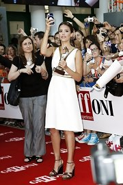 Jessica Alba completed her beautiful outfit at the 2012 Giffoni Film Festival with ankle-strap heels by Salvatore Ferragamo.