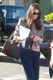 Jessica Biel carried a Louis Vuitton tote emblazoned with her initials after getting pampered at the salon.