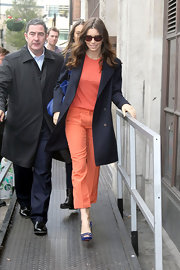 Who says monochromatic has to be boring? Jessica Biel embraced the look wearing cropped tangerine slacks with a complementary orange T-shirt.