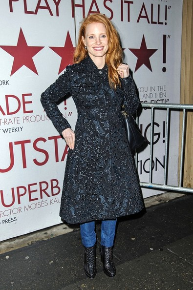 Jessica Chastain Leaves the Walter Kerr Theatre in NYC