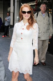 Jessica Chastain visited the Variety Studio wearing retro-chic cateye sunglasses with a lace shirtdress.
