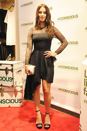 Jessica Lowndes chose a lace LBD with a full flowing skirt for her look at the H&M launch in Miami.