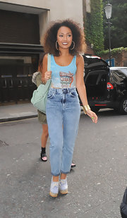 Leigh-Anne sported cool '80s-inspired high-waisted jeans while out with her bandmates.