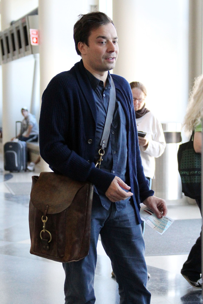 bf12810c9d7 Button Down Shirt. Jimmy Fallon · Jimmy looks ahead of the fashion game in  this masculine leather tote.