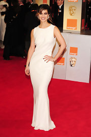 A sleek white bias cut gown fit the bill for the Orange British Academy Film Awards.