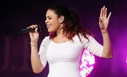 Jordin Sparks pulled her pink-tinted curls into a full ponytail for her performance at the US Open.