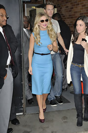 Julianne Hough paired her sky-blue dress with metallic purple platform pumps.