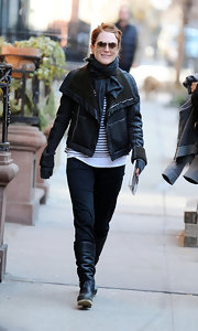 Julianne Moore paired her look with ruched black flat boots.