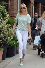 Karolina Kurkova stepped out in NYC wearing a light mint-colored tee.