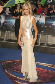Victoria Hervey's champagne gown featured satin embroidery on the bodice.