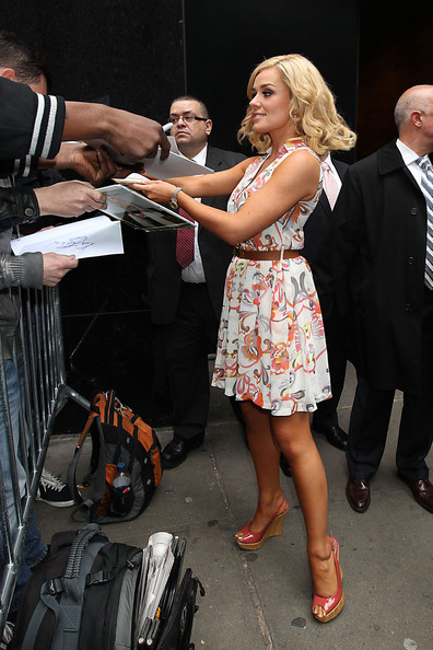 Katherine Jenkins stepped out in NYC wearing a pair of shiny coral slingback wedges.