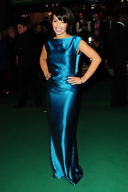 Katie Piper was a Deco dream in a blue satin gown.