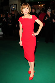 Sian Williams finished her red-on-red look with a fierce pair of pointy suede pumps.