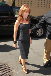 Kathy Griffin let her shoes do the talking with her simple gray sheath dress.