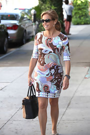 Katie Couric chose a pastel patterned frock for her look while out in LA.