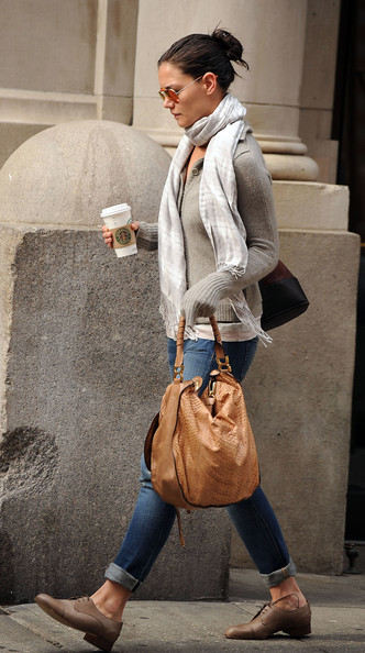 More Pics of Katie Holmes Patterned Scarf (2 of 6) - Scarves Lookbook - StyleBistro []